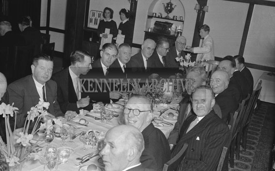 27th January 1962; A photo taken at the Annual Chamber of Commerce Dinner which was held at Benner's Hotel. The Guest Speaker was the Minister For Land, Mr Michael O Moran.
