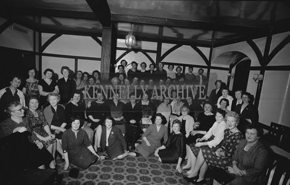 3rd February 1962; Members of the Tralee Guild of the Irish Countrywomens Association pose for the camera at their Eighth Annual Dinner in Benners Hotel.