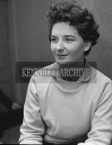 January 1962; Ms Nora Relihan poses for the camera at home in Listowel.