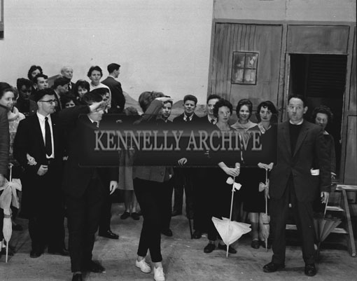 7th February 1962; Members of the Tralee Light Opera Society on stage during a rehearsal of the musical 'Showboat' at the CYMS in Tralee.