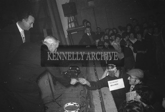 14th January 1962: A fancy dress prize presentation at a dance which took place at the CYMS in Tralee. Music at the dance was provided by Denis Cronin and his band.