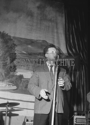 26th January 1962; A member of the Band on stage at a dance which was held at the Ashe Memorial Hall in Tralee.