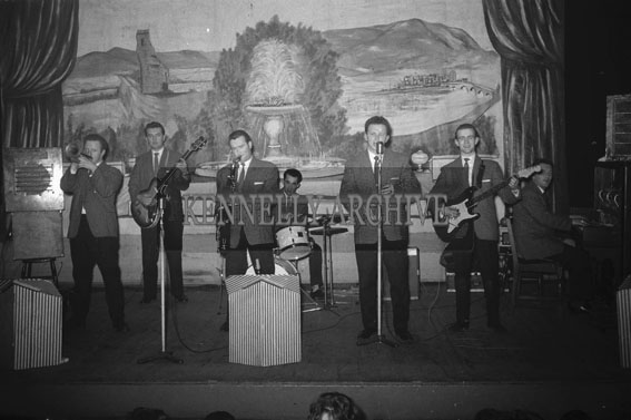 26th January 1962; The Band on stage at a dance which was held at the Ashe Memorial Hall in Tralee.