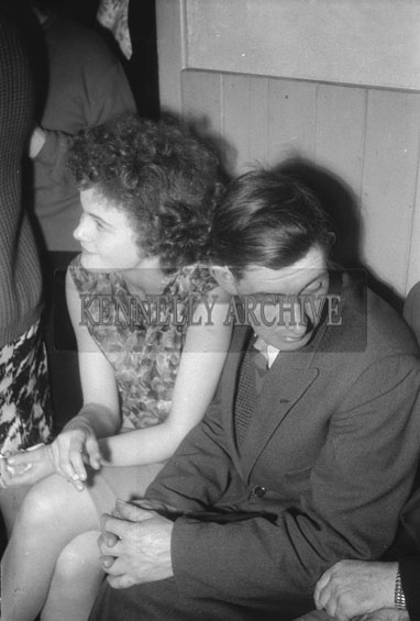 12th November 1962; People enjoying the night at a dance which took place in Scartaglin. Music at the dance was provided by the Michael O'Mahony's Shandrum Ceilí Band.