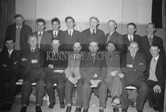 14th February 1962; A group of men pose for a photo at a Valentines Dance which took place in Rathmore.