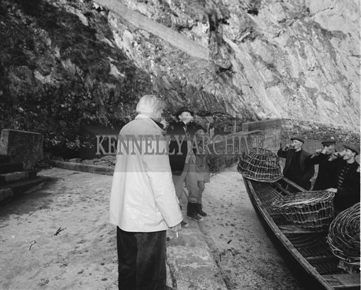 6th November 1962; A photo taken on a boat trip with the American Millionairess, Pauline Fenno, and her friends Mr Ritchie, Mrs Bakewell and Lord Powerscourt. She had formed a comany to run a ferry from Dunquin to the Blasket Islands.