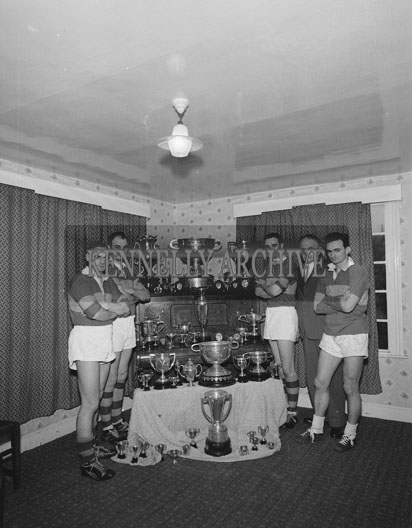6th November 1962; Winner of four Senior All-Ireland Medals, John Joe Sheehy with his sons Paudie, Niall, Brian and Seán óg with John Mitchels trophies and the Sam Maguire Cup.