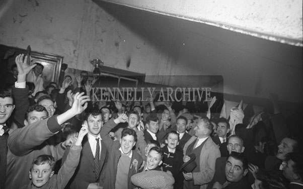 11th November 1962; John Joe Sheehy (centre, holding hat) celebrates after John Mitchels defeated Feale Rangers 1-9 to 0-5 in the Senior County Championship Final Replay.