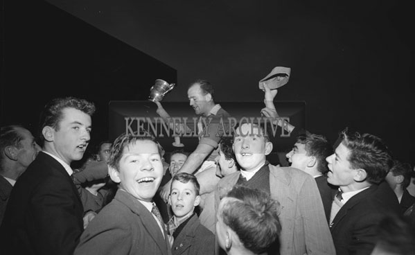 11th November 1962; John Mitchels captain Teddy O'Dowd celebrates in Austin Stack Park after his team defeated Feale Rangers 1-9 to 0-5 in the Senior County Championship Final Replay.