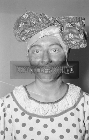February 1962; A member of the Tralee Light Society who staged a performance of the musical 'Showboat' at the CYMS in Tralee.