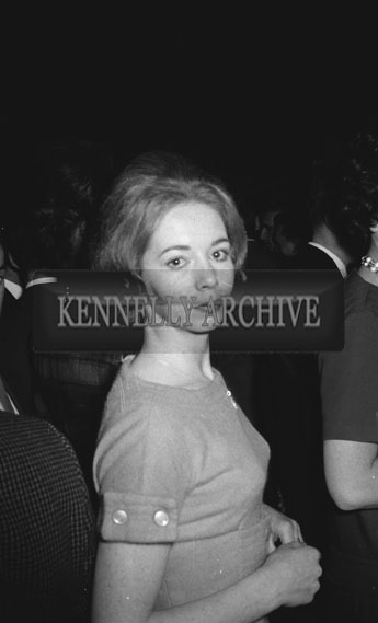 13th November 1962; A photo of a woman taken at a dance which took place at the Ashe Memorial Hall In Tralee.