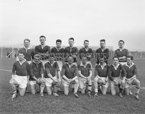 11th February 1962; Members of the Rest of Munster Team pose for the camera at a match where they took on  the Kerry team in Austin Stacks Park. The Kingdom were defeated by the Rest of Munster 2-5 to 1-6.
