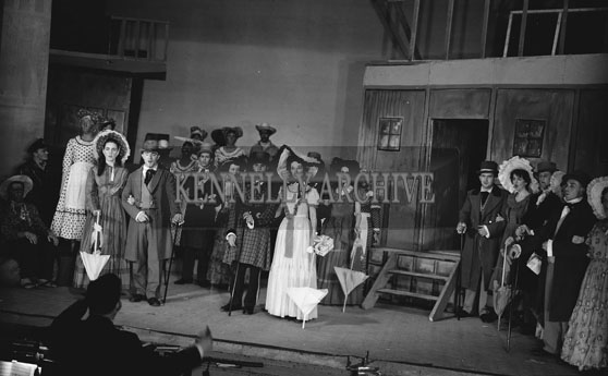 February 1962; Members of the Tralee Light Opera Society on stage during a performance of the musical 'Showboat' at the CYMS in Tralee.