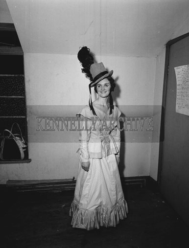 February 1962; A member of the Tralee Light Opera Society who staged a performance of the musical 'Showboat' at the CYMS in Tralee.