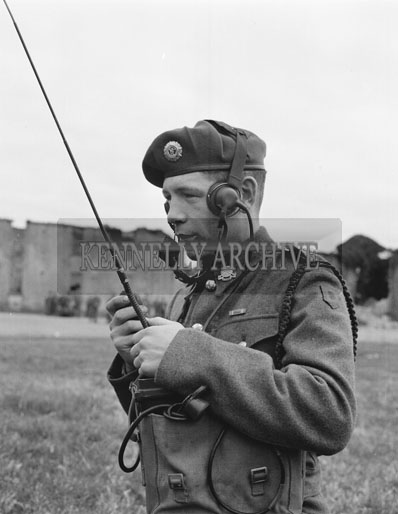 24th February 1962; A Member of the FCA during an exercise at Ballymullen Barracks in Tralee.