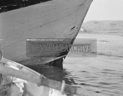 27th February 1962; A Seventy-Foot French Trawler, with a crew of eight, struck a rock near the Blasket Islands at midnight. As a result, there was a gaping hole in the bow when it arrived in Dingle for repair at the Boat-building Yard. At the time of the accident, the trawler was laden with fish and was on the way home to the Port of St Guencie, Brittany from the Aran Islands fishing Grounds.