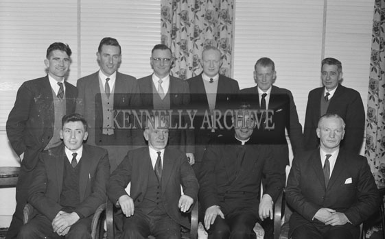 February 1962; Members of the Kerins O'Rahillys Social Committee pose for the camera at the Meadowlands Hotel.