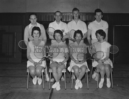 3rd March 1962; Members of the Kerry Badminton Team who qualified for the Brewster Cup by defeating Clare at the KPH in Tralee. Front Row (L-R); Beatrice Spring, Anita Horgan, Lilian Carmody and Loni McCarthy. Back Row (L-R); Myles Cronin, Paul Skuce, Maurice Foley and Des Fitzgerald.