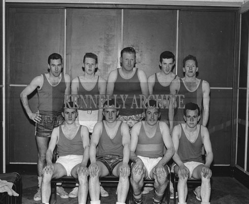3rd March 1962; Members of the FCA Basketball Team who defeated the ESB team 38-13 in the Munster Blitz Title Final at the CYMS in Tralee.