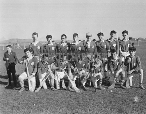 March 1962; Members of the Ballyduff Hurling Team pose for the camera at Austin Stacks Park in Tralee. The team were defeated by Lixnaw in the final of the North Kerry Minor Hurling League.