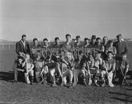 March 1962; Members of the Lixnaw Hurling Team pose for the camera at Austin Stacks Park in Tralee. The team defeated Ballyduff to win the final of the North Kerry Minor Hurling League.