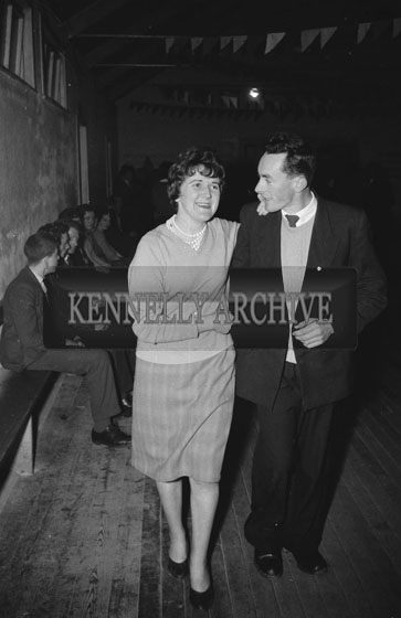 February 1962; People enjoying the night at a dance which took place in Scartaglin with music provided by the Abbey Band.