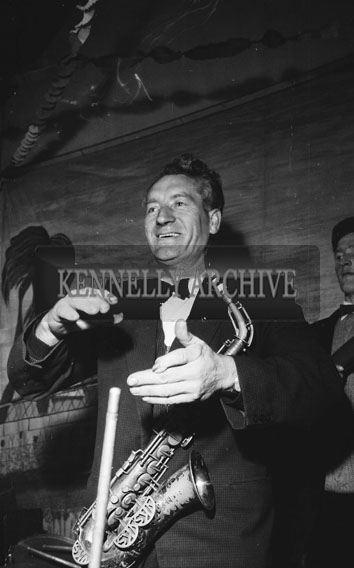 February 1962; A member of The Abbey Band on stage at a dance which took place in Scartaglin.