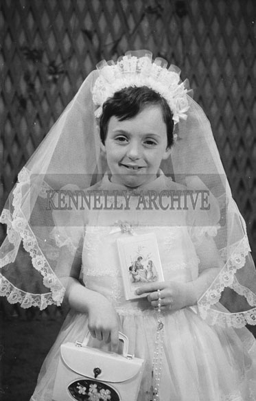 May 1962; A communion studio photo of a girl taken at the studio in Tralee.