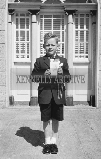 15th May 1962; A communion child taken on Confirmation Day in Castleisland.