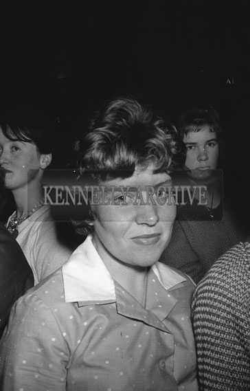 28th November 1962; A woman poses for the camera at a dance which took place at the Astor Ballroom in Castleisland.