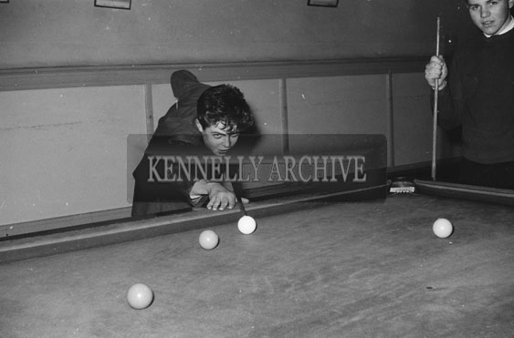 February 1962; A member of the Limerick Opera Society playing pool. The group staged a performace of 'The Yeoman of the Guard' at the CYMS in Tralee.