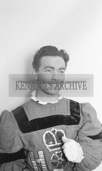 February 1962; A member of the Limerick Opera Society who staged a performace of 'The Yeoman of the Guard' at the CYMS in Tralee.