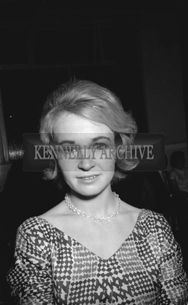 28th November 1962; Cora Roche née O'Connor, Tralee poses for the camera at the National Farmers Association Social which took place at the Hotel Manhattan.