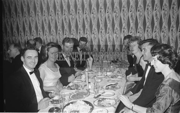 29th November 1962; Brian Sheehy (left) enjoying the night at the Banker's Dance which took place at the Manhattan Hotel.