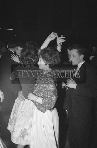 2nd March 1962; People enjoying the night at a dance which took place at the Ashe Memorial Hall in Tralee. Music at the dance was provided by the Blue Aces Showband.