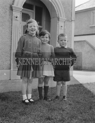 March 1962; The McElligott children pose for the camera at home in Oakpark.