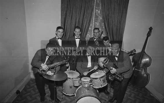 March 1962; Members of the Streamliners Orchestra And Showband pose for the camera at the studio in Tralee.