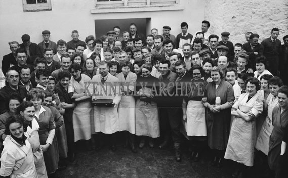 April 1962; Staff members from the Denny Factory make a presentation to the Manager in Tralee.