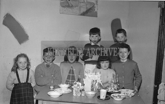 April 1962; Padraig Kennelly Junior celebrates his 5th birthday at home with friends.