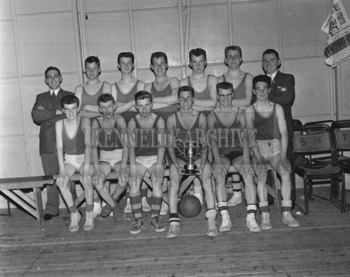 28th April 1962; Members of the FCA Team pose for the camera after defeating St Colmcille's team in the Kerry County Minor Basketball Final 48 points to 47 points.