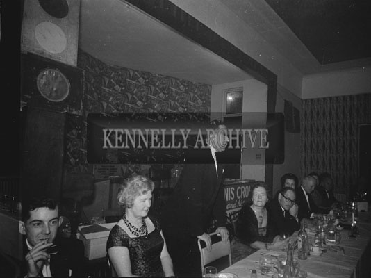 29th November 1962; A man speaking at the Banker's Dance which took place at the Manhattan Hotel.