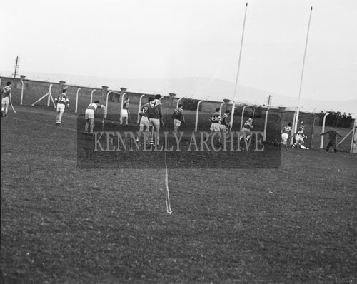 2nd December 1962; An action photo taken at the Senior County Hurling Final between Kilmoyley and St Brendan's which took place at Austin Stack Park in Tralee. Kilmoyley defeated St Brendan's 7-10 to 4-3 to become County Champions.
