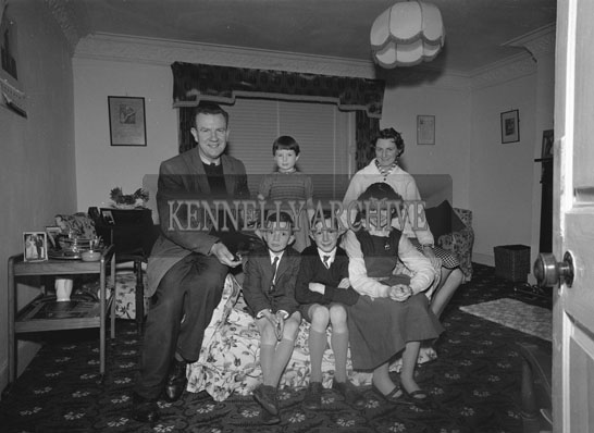 December 1962; Members of the Tarrant Family pose for the camera at home in Killarney.