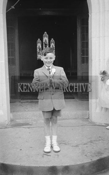 April 1962; A photo of a child taken on Confirmation Day in Kilflynn.