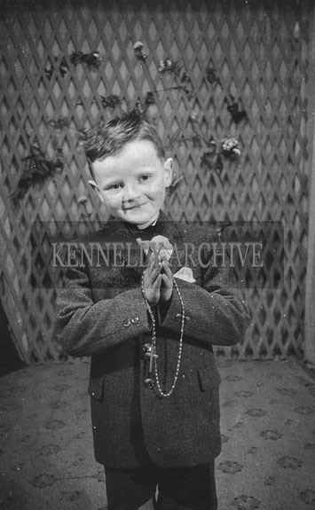 June 1962; A Communion photo of a boy taken at the studio in Tralee.