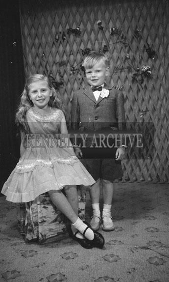 June 1962; A Communion photo of a boy and a girl taken at the studio in Tralee.