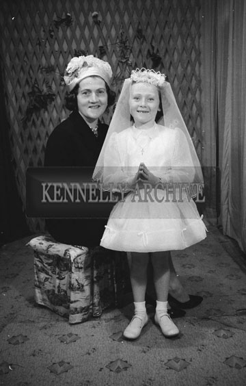 June 1962; A Communion photo of a girl and her mother taken at the studio in Tralee.