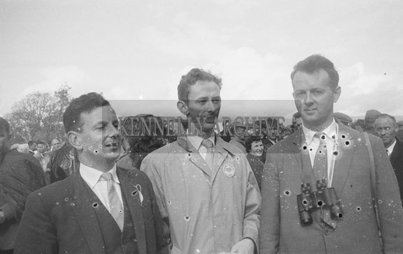 6th September 1962; From left: George Rice, Noel O'Connor and an unknown man enjoying the day at the Tralee Races during the Festival Of Kerry.
