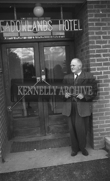 September 1962; Mr Peter Murphy from the Meadowlands Hotel poses for the camera.
