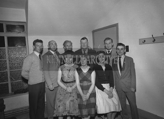 May 1962; Members of the Brosna Players pose for the camera after a very successful season by winning the All-Ireland Open in Athlone as well as the production award for their staging of the play 'Pot of Broth'.